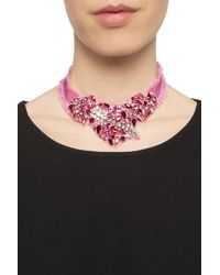 RED Valentino Grosgrain Necklace With Stones Pink