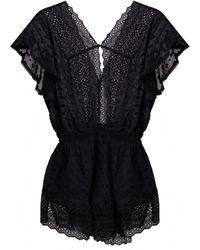 Étoile Isabel Marant Openwork Jumpsuit With Short Sleeves Black