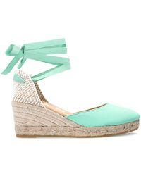 Manebí - 'hamptons' Wedge Sandals Green - Lyst