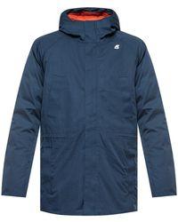 K-Way Down Jacket With Logo - Blue