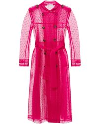 RED Valentino Pleated Trench Coat Red