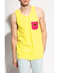 DIESEL Tank Top With Logo - Yellow