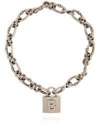 Balenciaga Chain Necklace With Pendant Silver - Metallic