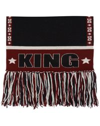 Dolce & Gabbana Patterned Scarf With Fringes - Black