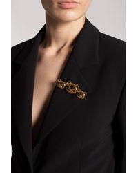 Moschino Brooch With Logo - Metallic