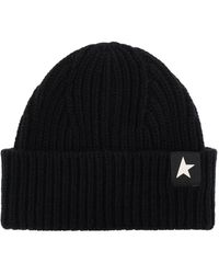 Golden Goose Wool Hat With Logo Black