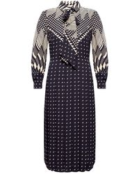 Tory Burch Patterned Dress With Long Sleeves Black