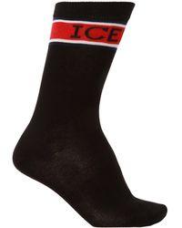 Iceberg Logo-embroidered Socks Black