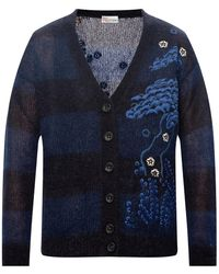 RED Valentino Floral-embroidered Cardigan Navy Blue