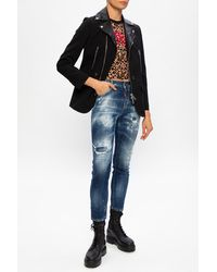 DSquared² 'cool Girl Jean' Distressed Jeans Navy Blue