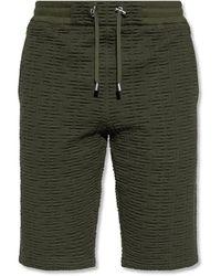 Balmain Shorts With Raised Logo - Green