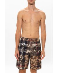Burberry Patterned Swim Shorts Brown