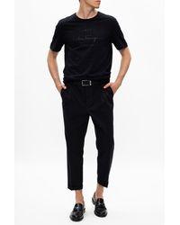 Ferragamo T-shirt With Raised Logo - Black