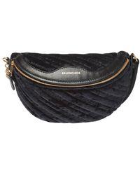 Balenciaga 'souvenirs' Quilted Belt Bag With Logo - Black