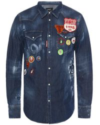 DSquared² - Patched Denim Shirt - Lyst