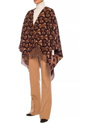 Burberry Large Logo Poncho - Brown