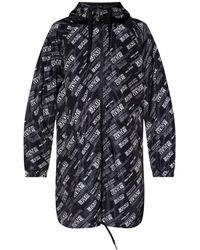 Versace Jeans Couture Reversible Coat With Logo - Black