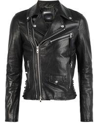 DIESEL Leather Biker Jacket - Black