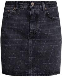 Balenciaga Raw-cut Denim Skirt - Grey