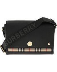 Burberry Vintage-check Panel Crossbody Bag - Black