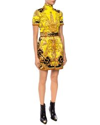 Versace Quilted Baroque Print Mini Skirt - Yellow
