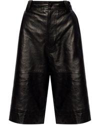 Ganni High-waisted Leather Shorts - Black