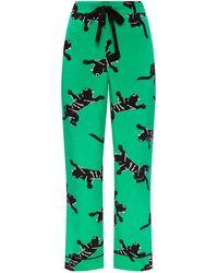 Diane von Furstenberg Silk Trousers - Green
