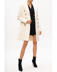 Balmain Wool Coat With Notch Lapels White