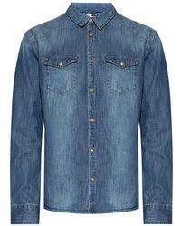AllSaints - 'denning' Distressed Denim Shirt Navy Blue - Lyst
