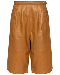 COACH Leather Trousers - Brown