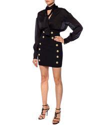 Balmain Button-front Wool Skirt - Black