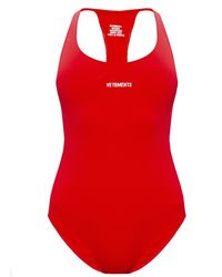 Vetements One-piece Swimsuit With Logo Red