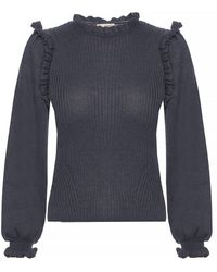 Ulla Johnson 'janelle' Ribbed Jumper With Ruffles - Gray