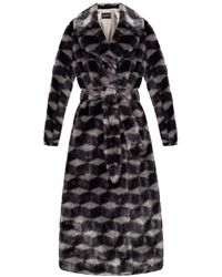 Emporio Armani Fur Coat With Geometrical Pattern - Grey