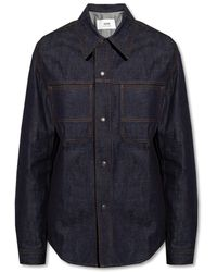 AMI Denim Shirt With Pockets - Blue