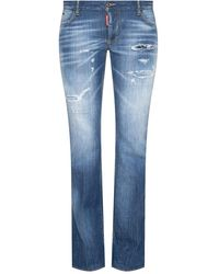 DSquared² - 'medium Waist Flare Jeans' Raw-cut Jeans Blue - Lyst