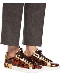 Dolce & Gabbana Portofino Trainer Patent Leather Marrone - Brown