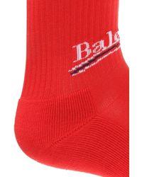 Balenciaga Logo-embroidered Socks Red