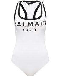 Balmain Bodysuit With Logo White