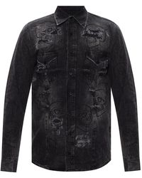 Philipp Plein Denim Shirt With Logo - Grey