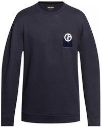 Giorgio Armani Logo-embroidered Sweatshirt - Blue