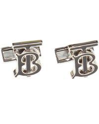 Burberry Logo-engraved Palladium-plated Brass Cuff Links - Metallic