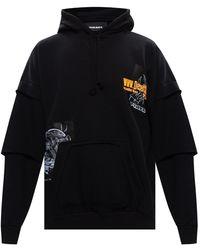 DIESEL Hoodie With Logo Patches Black