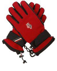 3 MONCLER GRENOBLE Logo Gloves - Red