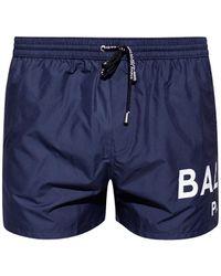 Balmain Swim Shorts With Logo - Blue