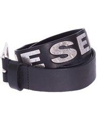 DIESEL Leather Belt With Metal Logo - Blue