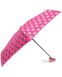 Moschino Patterned Umbrella With Teddy Bear - Pink