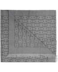 Ferragamo Logo-embroidered Scarf - Gray