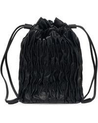 Ganni Ruched Hand Bag - Black