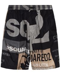 DSquared² Branded Swim Shorts Black